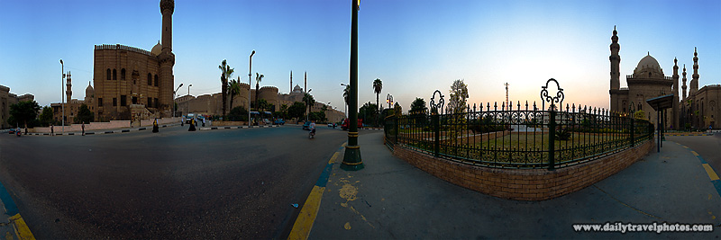 A user-controlled panorama of the traffic circle in front of the Citadel and behind the Mosque of Ar-Rifai and the Mosque-Madrassa of Sultan Hassan - Cairo, Egypt - Daily Travel Photos
