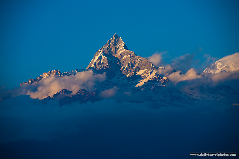 Machapuchre mountain, part of the Annapurna range of the Himalayas - Bandicot, Nepal - Daily Travel Photos