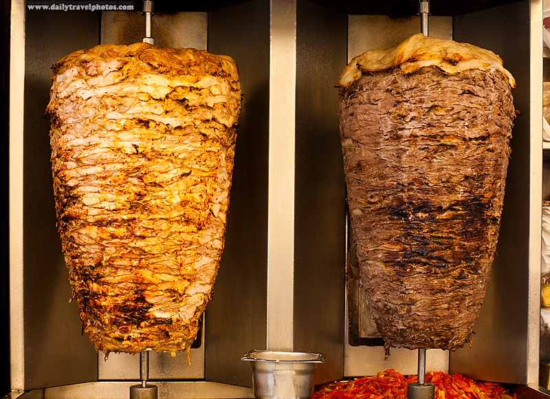 Chicken and lamb shawerma meats rotate on a skewer - Cairo, Egypt - Daily Travel Photos
