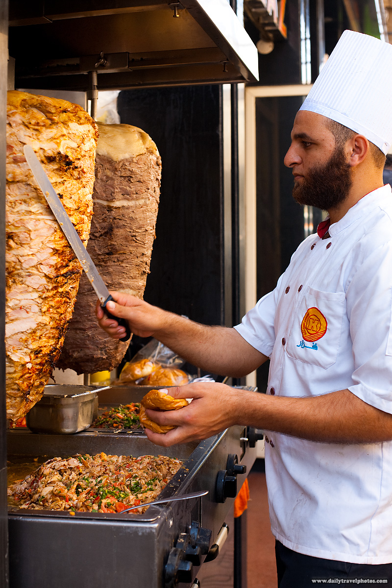 Slices of chicken are shaved into sandwich bread - Cairo, Egypt - Daily Travel Photos