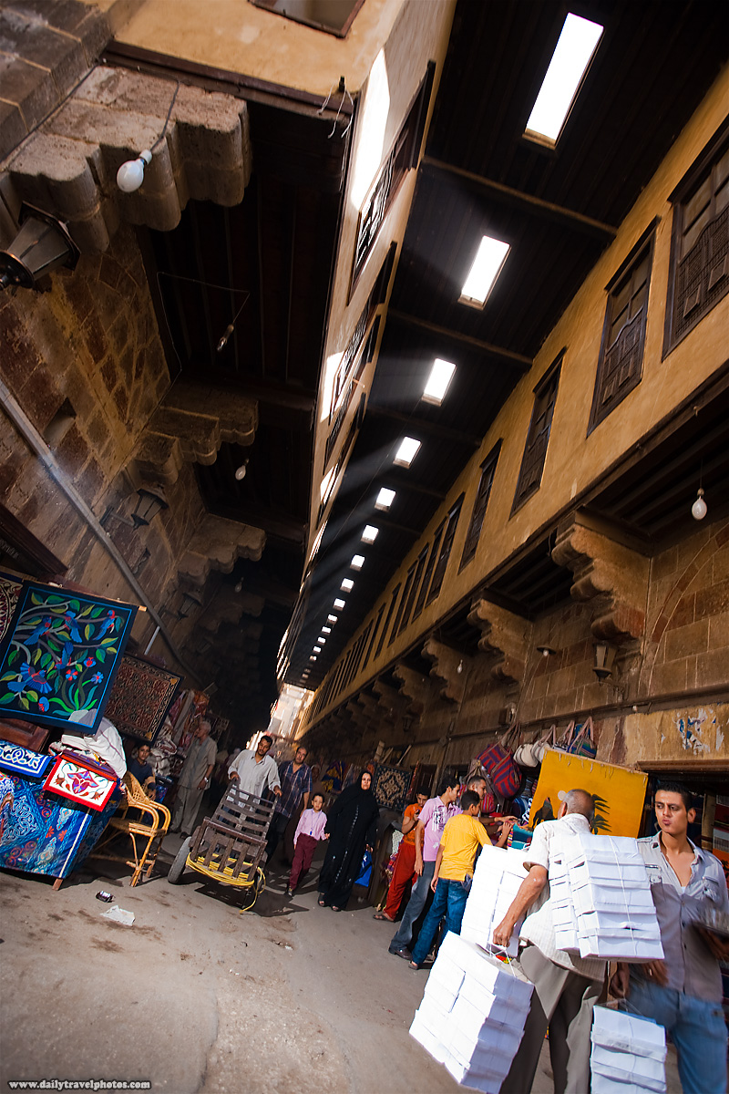 Shafts of light rain down on the Bazaar of the Tentmakers - Cairo, Egypt - Daily Travel Photos