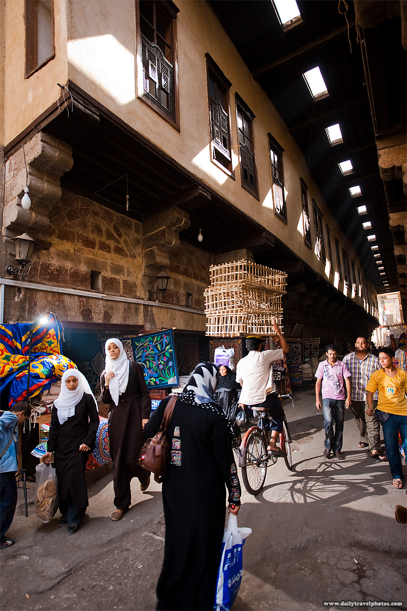 Test shot showing my bare flash on a stand at the Tentmakers' Bazaar in Islamic Cairo - Cairo, Egypt - Daily Travel Photos