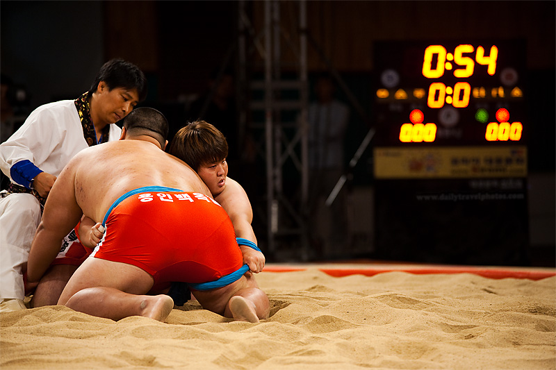 A pair of wrestlers prepare to commence their Ssireum bout - Seoul, South Korea - Daily Travel Photos