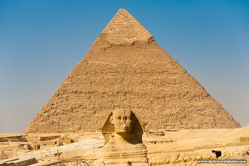 Sphinx Pyramid Khafre Giza Centered Line Row - Cairo, Egypt - Daily Travel Photos