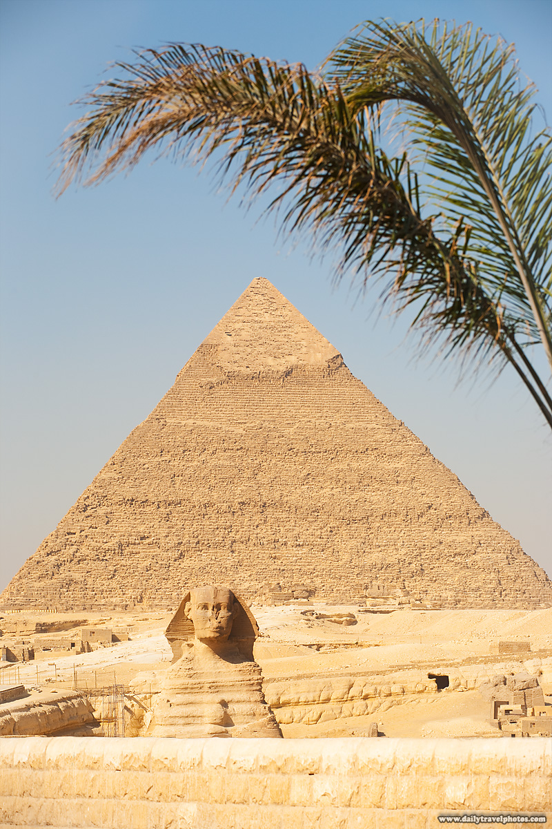 Sphinx Pyramid Giza Khafre Tree Post-Process Before After - Cairo, Egypt - Daily Travel Photos