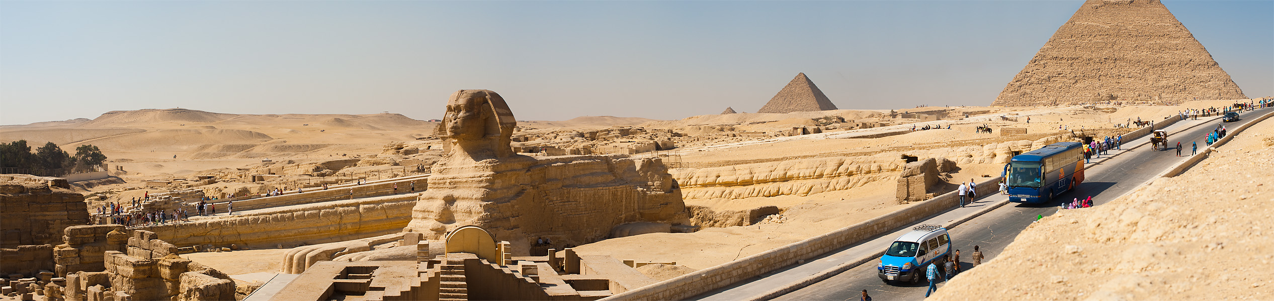 Panorama Image Sphinx Road Pyramids Desert Necropolis - Cairo, Egypt - Daily Travel Photos