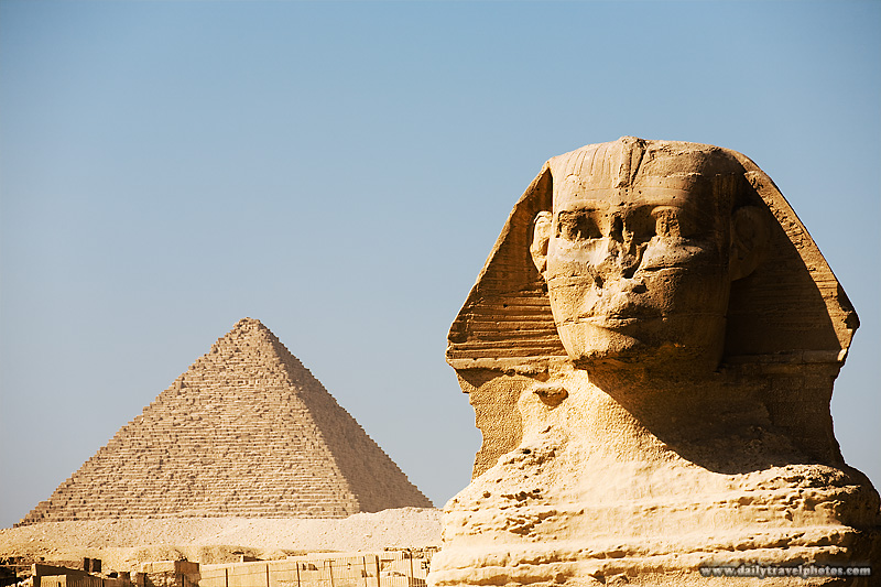 Head Sphinx Pyramid Menkaure Side by Side - Cairo, Egypt - Daily Travel Photos