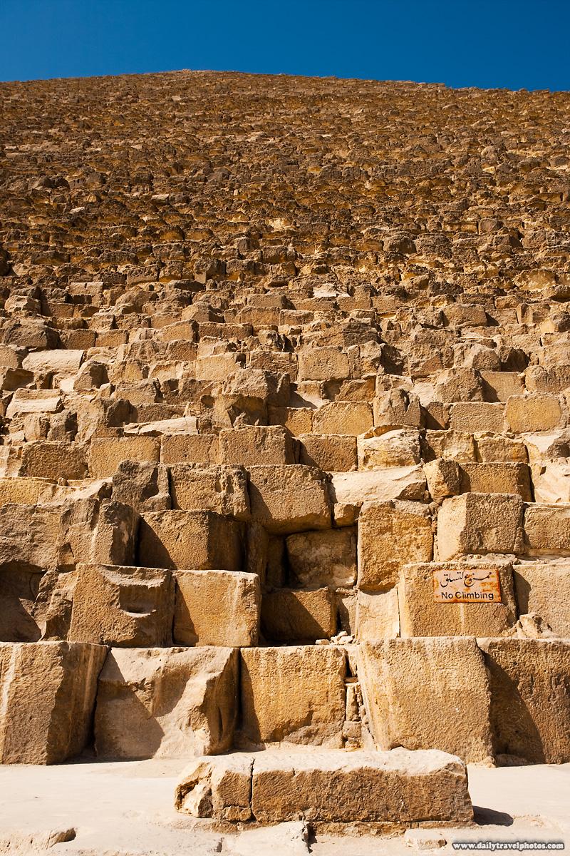 Base Pyramid Khufu Cheops No Climbing Sign - Cairo, Egypt - Daily Travel Photos