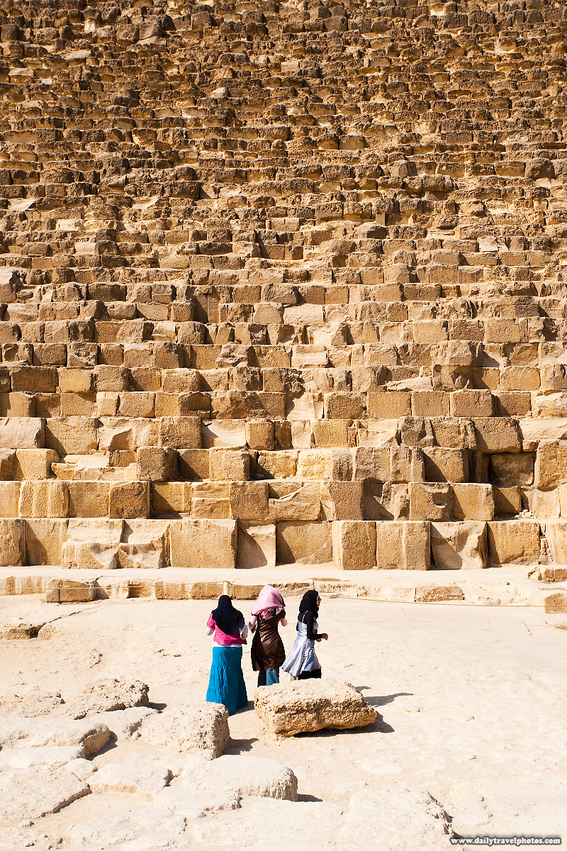 Young Egyptian Girls Pyramid Large Stone Blocks - Cairo, Egypt - Daily Travel Photos