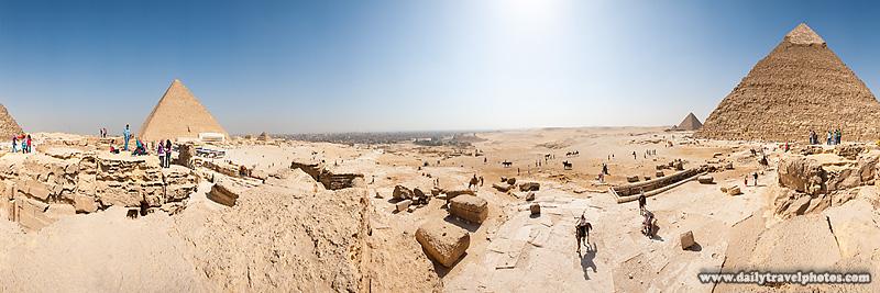 User Controlled 360-degree Panorama Between Pyamid Khufu Khafre - Cairo, Egypt - Daily Travel Photos