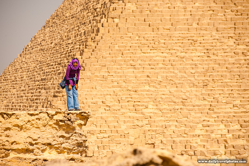 Young Egyptian Girl Laugh Pyramid Khufu Cheops - Cairo, Egypt - Daily Travel Photos