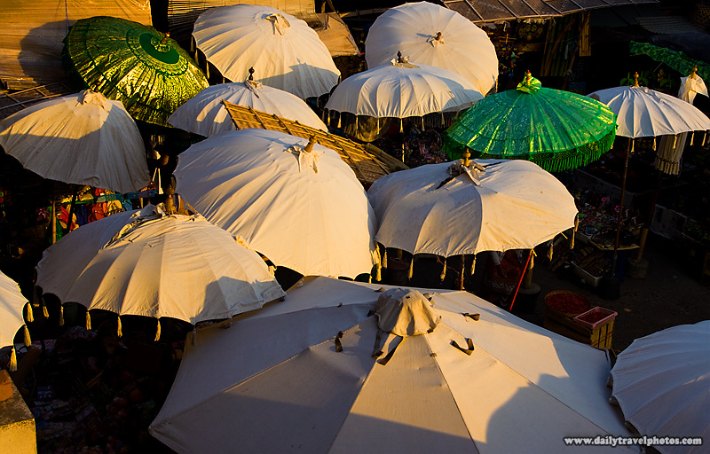 Umbrellas Market Evening Shade - Ubud, Bali, Indonesia - Daily Travel Photos