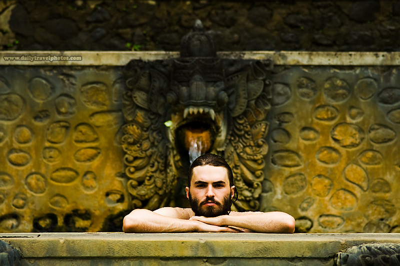 Rugged Handsome Good-Looking Man Hot Spring Bath - Banjar, Bali, Indonesia - Daily Travel Photos