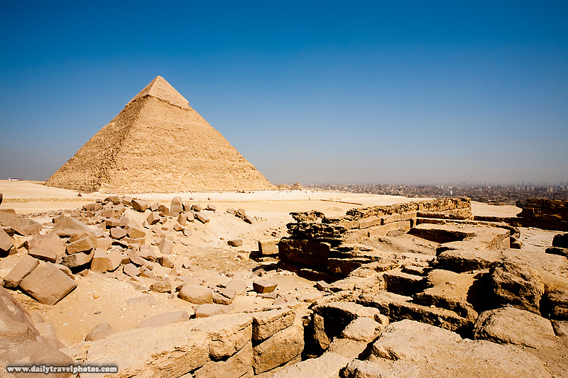 Funerary Mortuary Temple Pyramid Khafre Cityscape - Cairo, Egypt - Daily Travel Photos