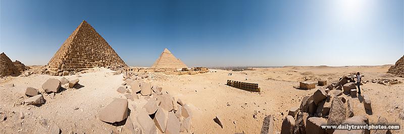 User controlled Panorama Menkaure Pyramid Desert Giza - Cairo, Egypt - Daily Travel Photos