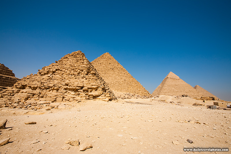 Different Angle Queen's Pyramid Menkaure Khafre Cheops Row - Cairo, Egypt - Daily Travel Photos