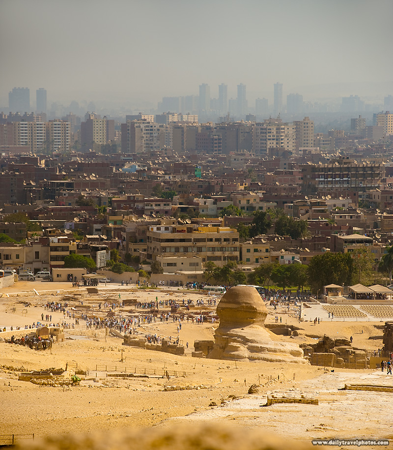Sphinx Looking Onto Greater Cairo City - Cairo, Egypt - Daily Travel Photos