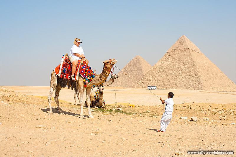 Overweight Tourist Pyramids Camel Ride Funny - Cairo, Egypt - Daily Travel Photos