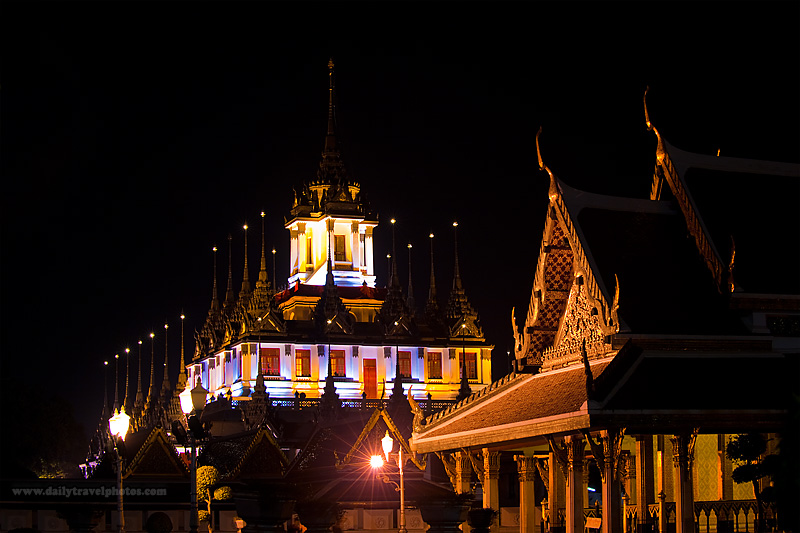 Thai Temple Wat Ratchanatdaram Worawihan Spires - Bangkok, Thailand - Daily Travel Photos