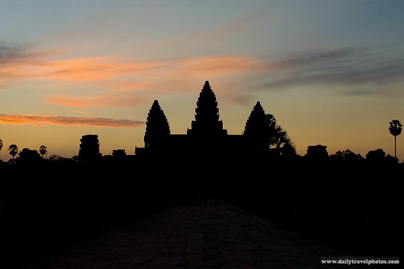 Sunrise Angkor Wat Entrance Inner Silhouette - Siem Reap, Cambodia - Daily Travel Photos