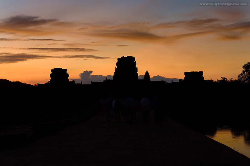 Sunrise Angkor Wat Entrance Outer Silhouette Tourists - Siem Reap, Cambodia - Daily Travel Photos