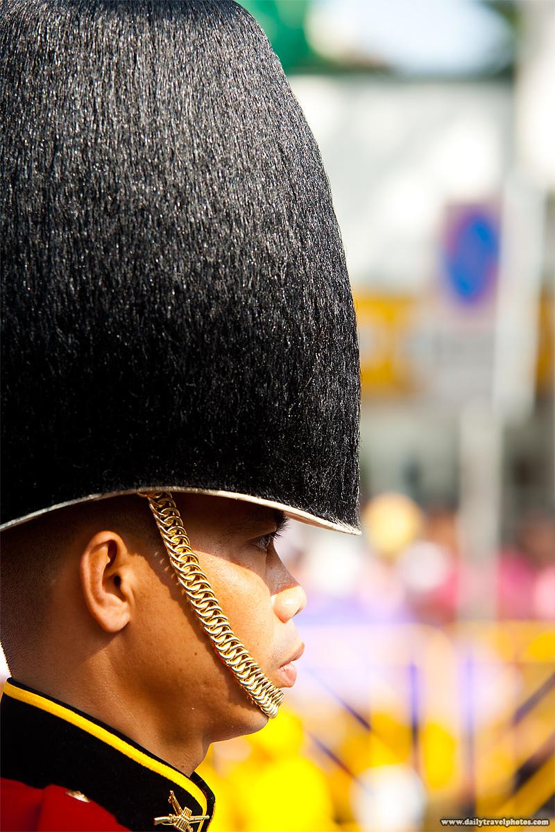 Thai Royal Guard Fuzzy Hat Close Soldier - Bangkok, Thailand - Daily Travel Photos