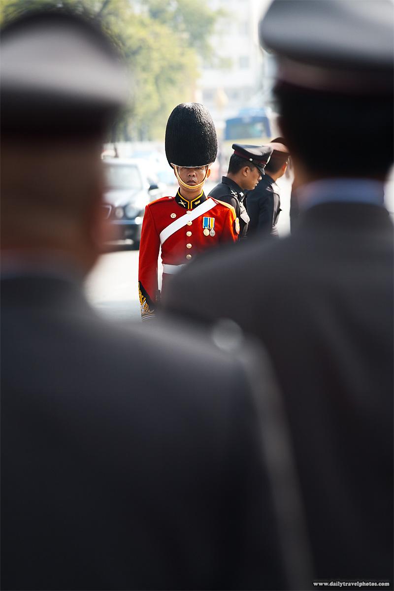 Thai Royal Guard Fuzzy Hat King's Birthday Officers - Bangkok, Thailand - Daily Travel Photos