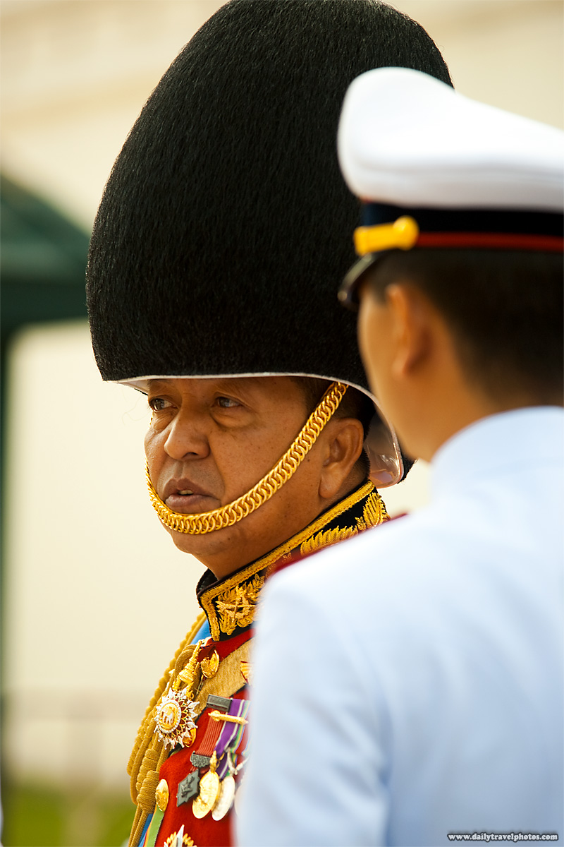 High Ranking Thai Royal Guard Officer Fuzzy Hat - Bangkok, Thailand - Daily Travel Photos