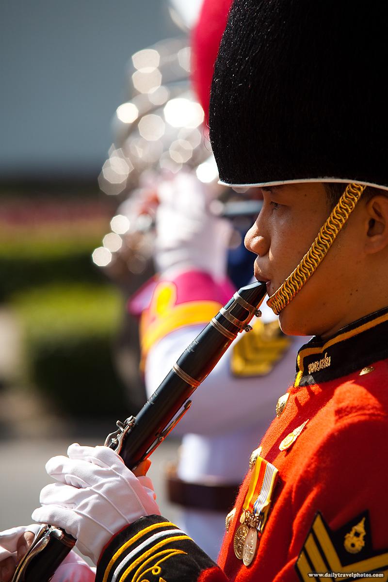 Uniform Flutist Marching Band King Birthday Parade - Bangkok, Thailand - Daily Travel Photos