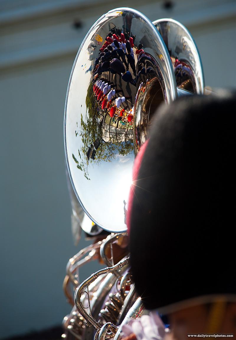 Sousaphone Player Marching Band Reflection King's Birthday - Bangkok, Thailand - Daily Travel Photos