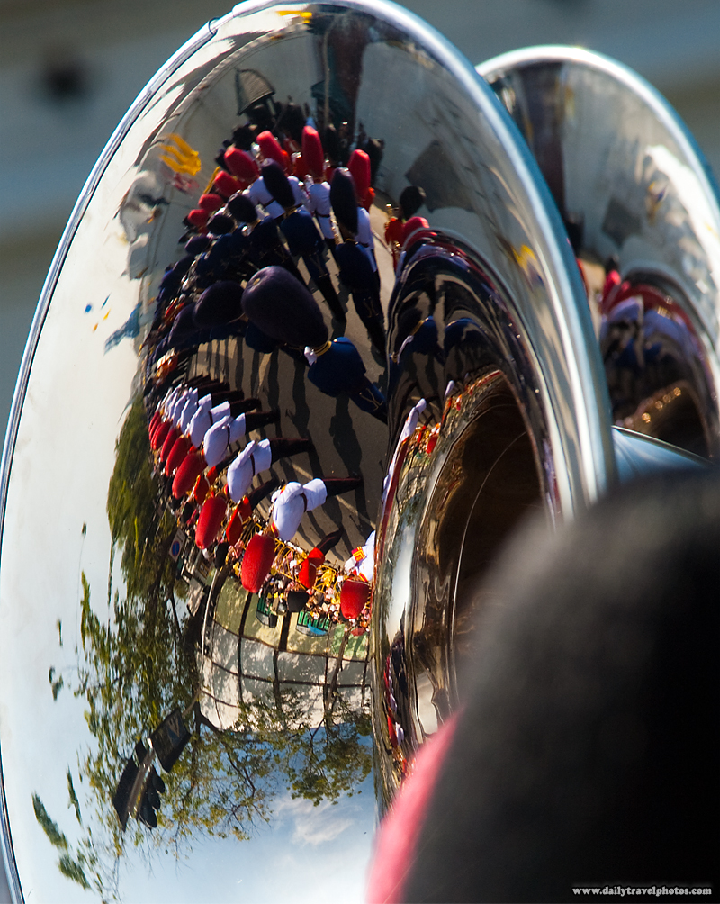 Sousaphone Reflection Marching Band Members King's Birthday - Bangkok, Thailand - Daily Travel Photos