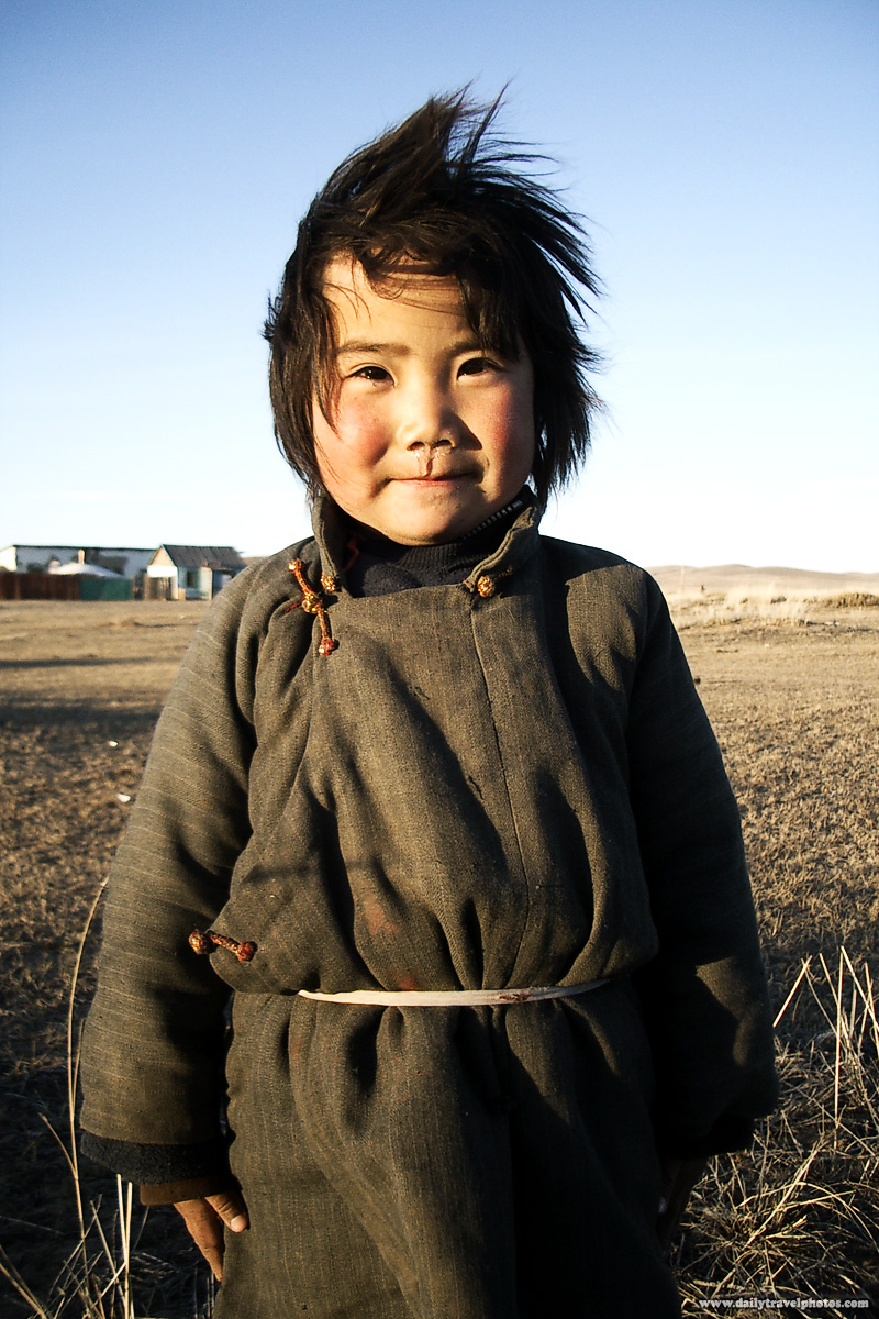 Cute Mongolian Girl Traditional Clothes - Central, Mongolia - Daily Travel Photos