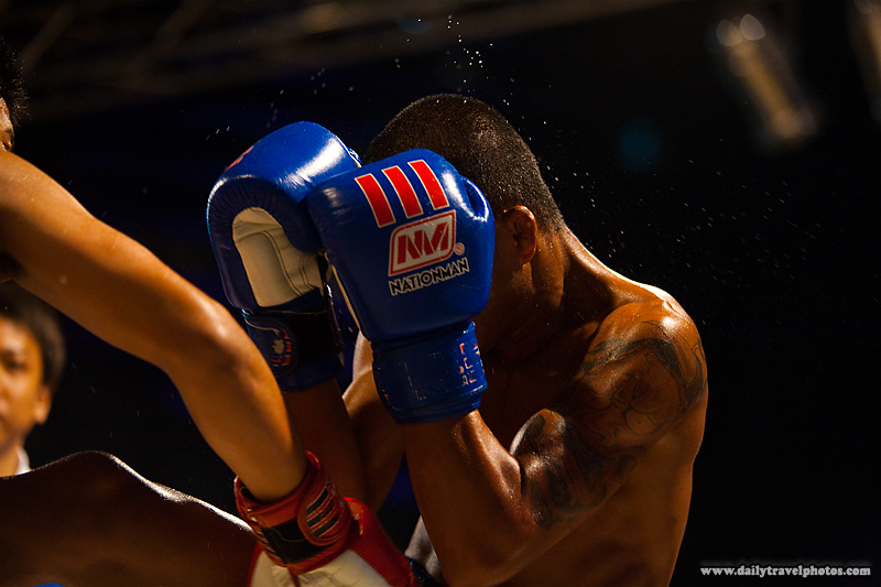 Muay Thai Boxing Punch Sweat Guarding - Bangkok, Thailand - Daily Travel Photos