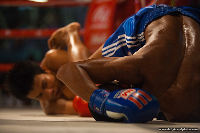 Muay Thai Kickboxing Down Canvas Fall Knockdown - Bangkok, Thailand - Daily Travel Photos