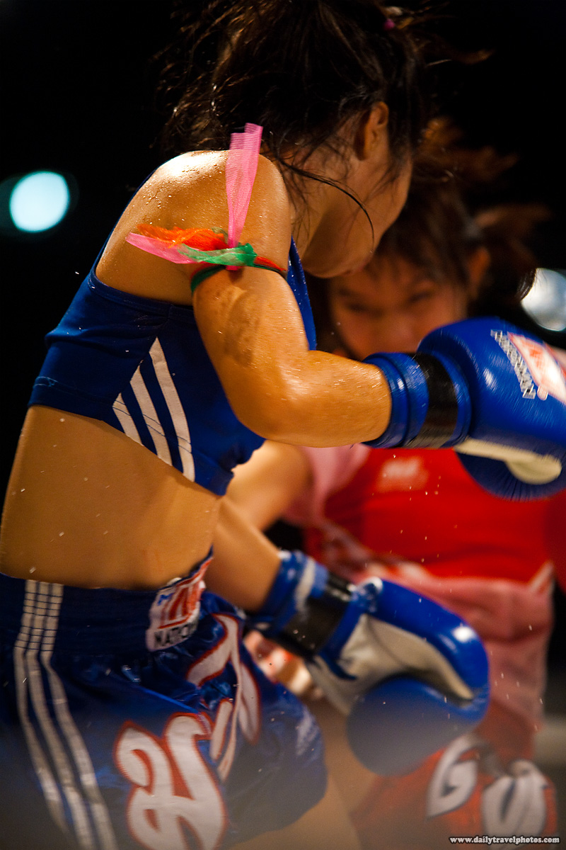 Female Muay Thai Kickboxing Women Kick Sweat Flying - Bangkok, Thailand - Daily Travel Photos