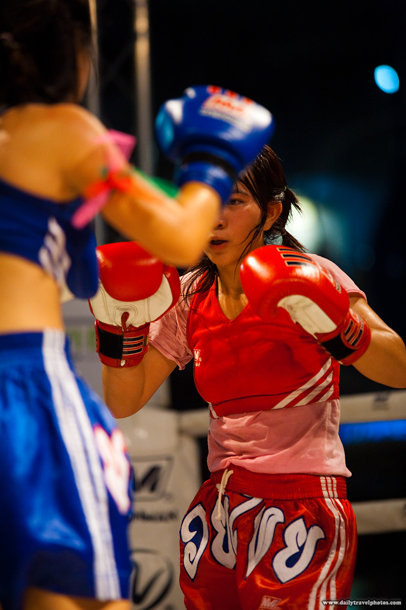 Girls Muay Thai Kickboxing Fight Square Off - Bangkok, Thailand - Daily Travel Photos