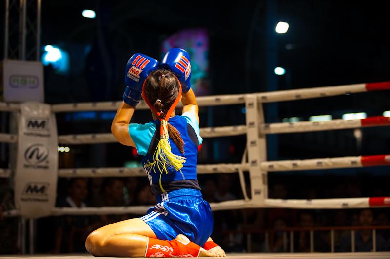 Women's Thai Kickboxing Wai Khru Ram Muay Look Up - Bangkok, Thailand - Daily Travel Photos