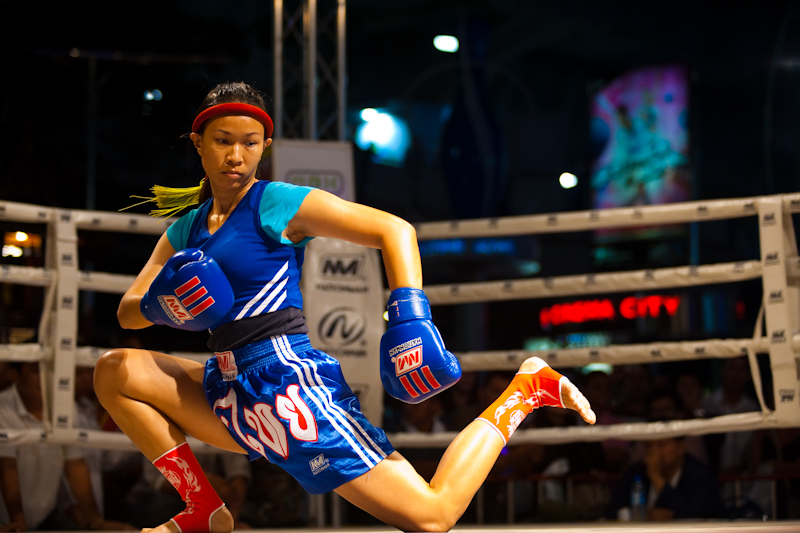Women's Muay Thai Kickboxing Wai Khru Ram Muay Ritual Twist - Bangkok, Thailand - Daily Travel Photos