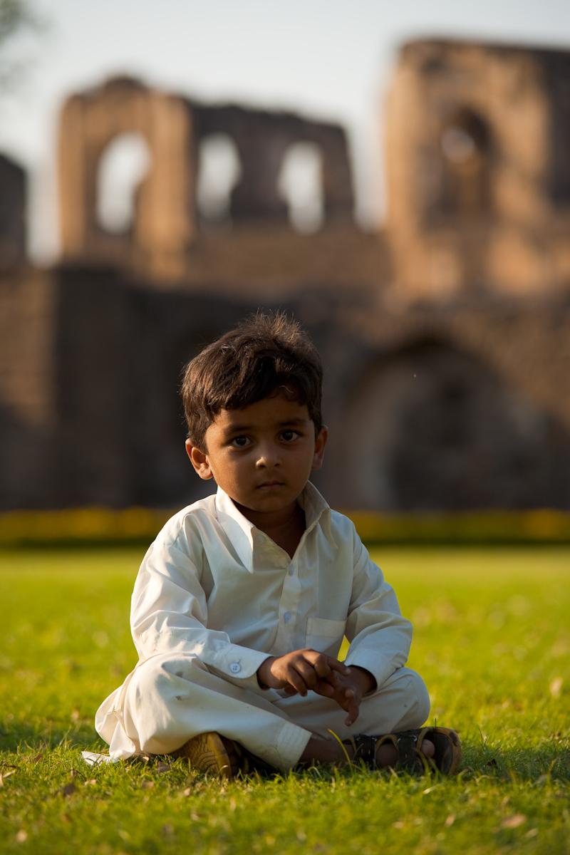 Young Muslim Indian Boy Grass Traditional Clothes - Bijapur, Karnataka, India - Daily Travel Photos