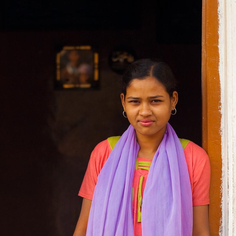 Beautiful Young Indian Muslim Girl Door Portrait - Bijapur, Karnataka, India - Daily Travel Photos