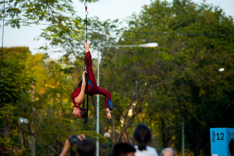 Acrobatics Ring Suspended Air Woman Lycra Lumphini Park - Bangkok, Thailand - Daily Travel Photos