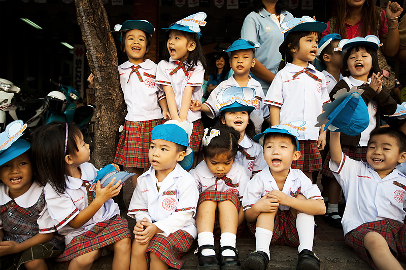 Group Thai School Children Uniform Yelling - Surin, Isaan, Thailand - Daily Travel Photos