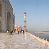 Taj Mahal Marble Platform Photo: A panorama of the northeast corner of the Taj Mahal as seen from the raised marble platform.