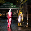 Emperor's Escape Photo: Kashmiri women stand in Shalimar Bagh's cascading water fountain.