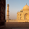 Glossy Ground Photo: The Taj Mahal at sunrise is seen through the doors of the Jawab. (From the archives, due to time restraints.)
