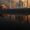 photo: Twilight Inferno - The holy Jamuna river reflects sunset clouds and the Taj Mahal. (From the archives, due to time restraints.)