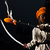 Saffron Assassin Photo: A young Sikh boy practicing martial arts and sword combat at the Paonta Sahib gurudwara.  (From the archives due to time restraints.)