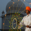 Sikh Spinner Photo: A Sikh student at the Paonta Sahib gurudwara practices martial arts with a net-like weapon.