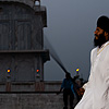 Dusk Duel Photo: Two Sikhs show off their sword-play at the Paonta Sahib gurudwara.