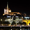 Purloined Plastic Photo: Downtown Geneva and St. Pierre's Cathedral in old town reflected on Lake Geneva.